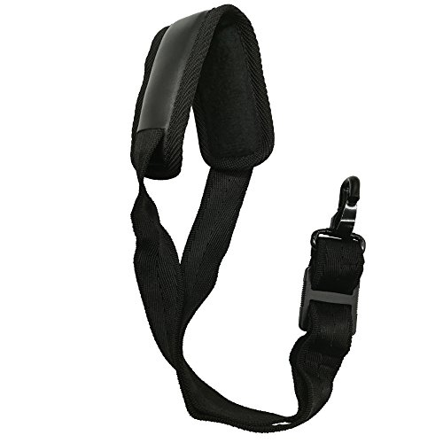 LONGTAI Saxophone Neck Strap with Thick Soft Padded,Black PU Leather,Metal Hook for Baritone Alto Tenor Soprano Sax ()