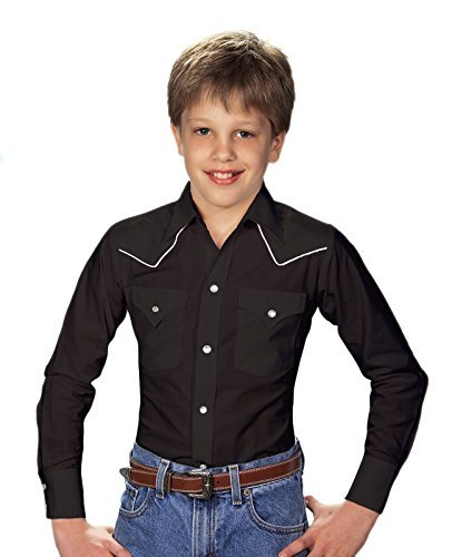 (ELY CATTLEMAN Boys' Western Shirt Black Medium)