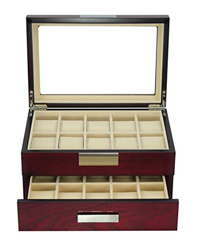 - TimelyBuys 20 Cherry Wood Watch Box Display Case 2 Level Storage Jewelry Organizer with Glass Top, Stainless Steel Accents, and Drawer