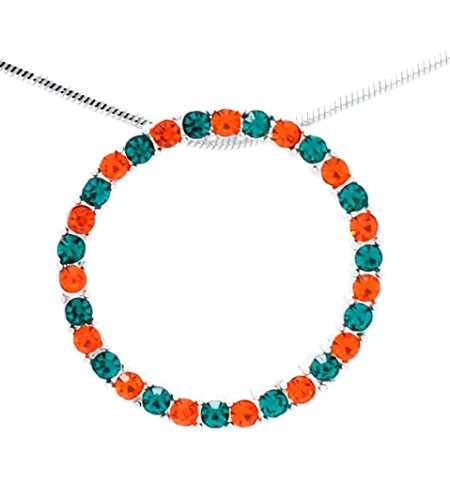CIRCLE OF LIFE NECKLACE - INFINITY NECKLACE - CRYSTAL CIRCLE NECKLACE - GREEN ORANGE (Miami Hurricanes Round Crystal)