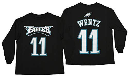 Outerstuff NFL Youth Philadelphia Eagles Carson Wentz #11 Mainliner Long Sleeve Player Tee, Large