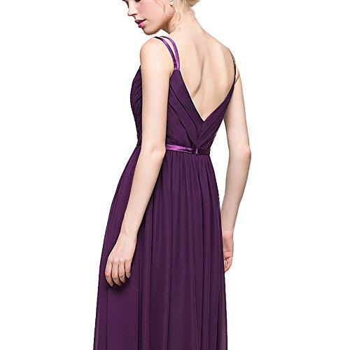 Dreagel Longues Robes De Demoiselle D'honneur En Mousseline De Soie Col V Robe De Soirée Formelle Froncé Pour Les Femmes Sarcelles