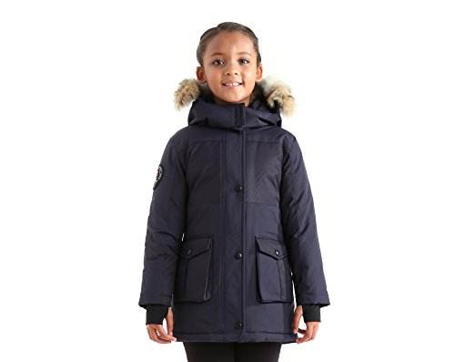 Triple F.A.T. Goose Madigan Girls Hooded Down Jacket Parka with Real Coyote Fur (6, Navy) by Triple F.A.T. Goose