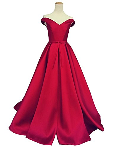 Corset Long Gown (Duraplast Women's Off-The-Shoulder Dress Long Prom Gown With Bow US14 Red)