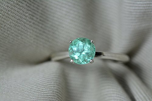 Round Colombian Emerald - 1.03 Carat Colombian Round Emerald Solitaire Ring In Sterling Silver Appraised