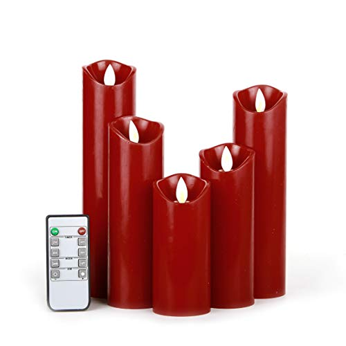 Kitch Aroma Flameless Candles Flickering Candles Burgundy Red Color Decorative Battery Flameless Candle Classic Real Wax Pillar With Dancing LED Flame with Remote Control