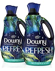 Downy Infusions Liquid Fabric Softener, Refresh, Birch Water & Botanicals, two 1.66 L bottles, 166 total loads