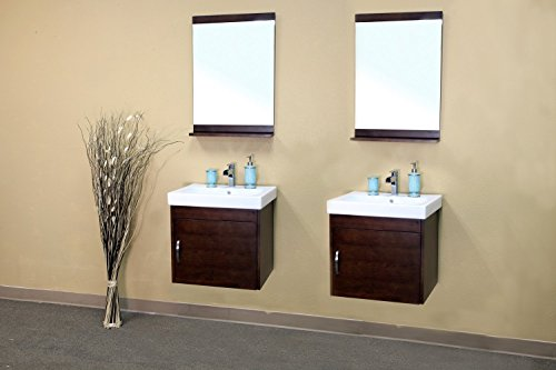 Bellaterra Home 203136-D 48.8-Inch Double Wall Mount Style Sink Vanity, Wood, Walnut - Wood cabinet, no MDF or Particle board Mounting hardware included Soft closing hinges - bathroom-vanities, bathroom-fixtures-hardware, bathroom - 41GsXwP6rPL -