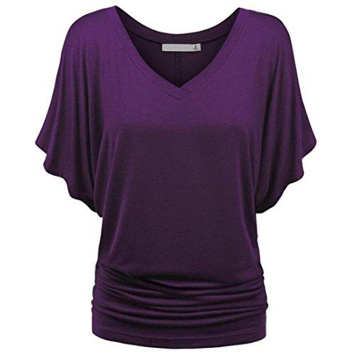 Pure Neck Blouse Couleur Casual Femme Soiree La V Violet Casual Femmes Chemise Hawaienne Noir Plus Shirt T Deep Top Chic Challeng Taille zqAanTg