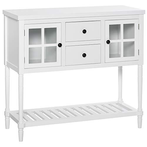 Buffet meuble de rangement 2 placards 2 portes avec /étag/ères r/églables blanc ch/êne clair