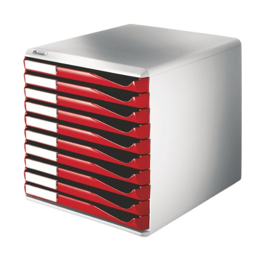 (Leitz 10 A4 Drawer Cabinet, Organiser, Form Set, Red)