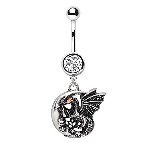 Pierced Owl Dragon in Crescent Moon Fantasy Dangling Charm Belly Button Navel Ring (Dragon Belly)