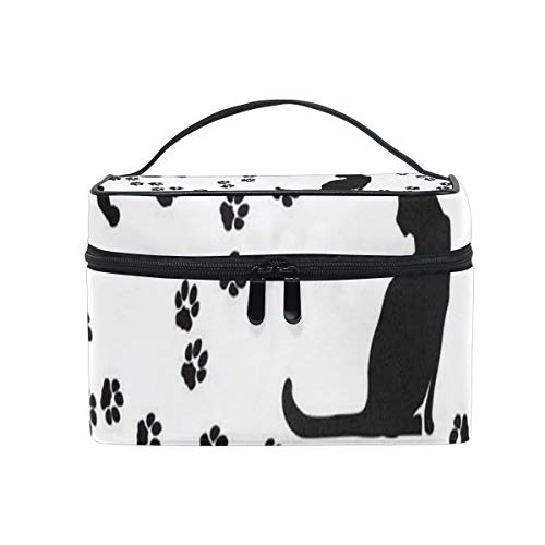 Cosmetic Bag Cat Paw Black Womens Makeup Organizer Girls Toiletry Case Box Lazy Zip Bag -