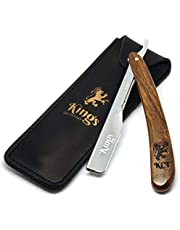 Cut Throat Razor for Men by The Kings Cutthroat® - Men's Cutthroat Shaving Straight Slider – Leather Travel Pouch and Velvet Kit Bag Included – Essential Male Grooming Accessory for Beards NO Blades …