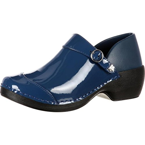 4EurSole Work Shoes Womens Patent Leather Clog Blue RKH047