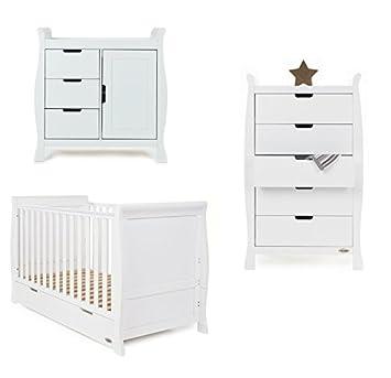 c93e19c8b1cf Obaby Stamford 3 Piece Nursery Room Set (Tall Drawers) - White ...