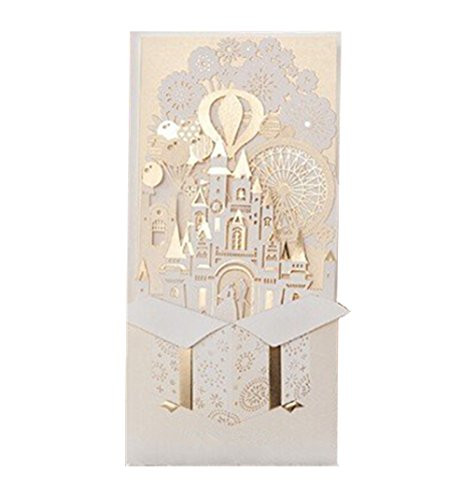 - (20pcs)Laser Cut 3D Gold Gilding Wedding Invitations Cards with Bride and Groom in Castle for Engagement Bridal