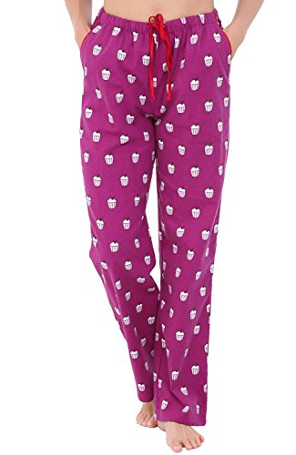 Alexander Del Rossa Womens Flannel Pajama Pants, Long Cotton Pj Bottoms, Medium Cupcakes on Purple (A0703Q94MD)