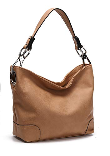 MKF Hobo bag for Women - Satchel-Tote shoulder Bag - Vegan Leather Womens Purse Top Handle Pocketbook Handbag Dark Tan ()