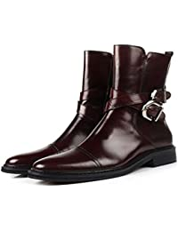 Calfskin Leather Formal Dress Shoes Cap-Toe Zipper Buckle Boot Mens Shoes
