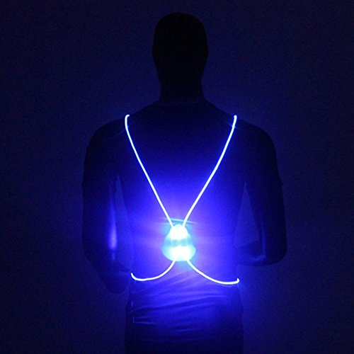 Richermall Cycling LED Safety Vest- Night Riding Reflective Warning Vest Adjustable Belt High Visibility LED for Jogging Hiking(no batteries) (blue) by Richermall (Image #2)