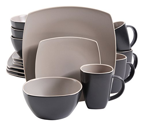 Four Dinner - Gibson Elite Soho Lounge Matte Glaze 16 Piece Dinnerware Set in Taupe; Includes 4 Dinner Plates; 4 Dessert Plates, 4 Bowls and 4 Mugs