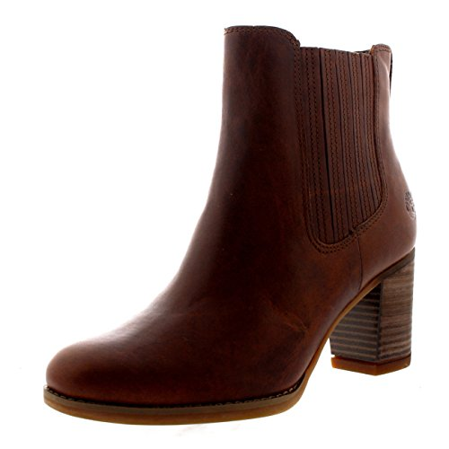 Gore Leather Heels (Timberland Women's Atlantic Heights Covered Gore Chelsea Boot, Medium Brown Full Grain, 7 W US)