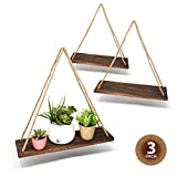 "17"" Reclaimed Wood Hanging Swing Rope Floating Shelves, Set of 3"