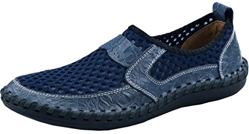 Besporter Mens Mesh Casual Walking Shoes Driving Loafers Blue