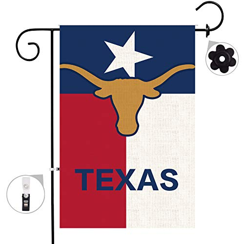 Bonsai Tree Home Decorative Double Sided American Burlap Garden Flag, Texas State House Yard Flag 18x27,Texas Longhorn Outdoor Flag with Premium Rubber Stopper and Anti-Wind Clip ()