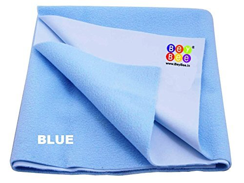 Bey Bee - Waterproof Mattress Protector/Premium Hypoallergenic Mattress Cover/Washable Bed Bugs Protector Cover/Underpads / Baby Crib Sheets/Bassinet Bedding (Large (140cm X 100cm), Blue) by Bey Bee