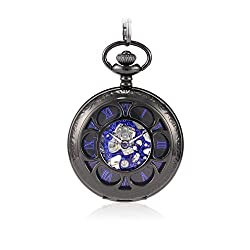Sinopic Half Hunter Pocket Watch for Men with Vintage Blue Roman Numerals Skeleton Black Dial with Chain