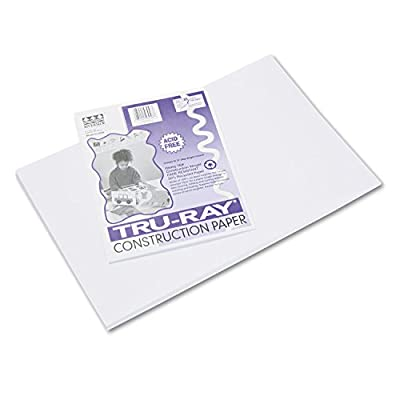 Pacon 103058 Tru-Ray Construction Paper, 76 lbs, 12 x 18, White, 50 Sheets/Pack : Computer Printout Paper : Office Products