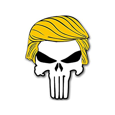 American Vinyl Punisher w/Trump Hair Shaped Sticker (Bumper pro Donald Military GOP q): Automotive