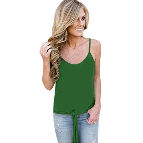 BingYELH Women's Casual Twist Knot Tank Tops Sleeveless Spaghetti Strap Camisole Flowy Tunic Shirt Pleat Solid Vest Blouses - Camisole Pleats