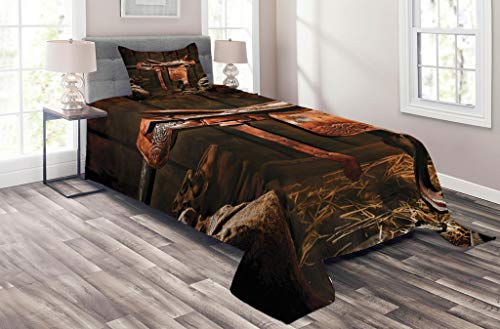 Ranch Bedspread Style (Lunarable Western Coverlet Set Twin Size, American West Traditional Authentic Style Rodeo Cowboy Saddle Wood Ranch Barn Image, 2 Piece Decorative Quilted Bedspread Set with 1 Pillow Sham, Dark Brown)
