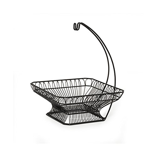 Gourmet Basics by Mikasa French Countryside Fruit Basket with Banana Hanger, Antique Black (French Country Wire Baskets)