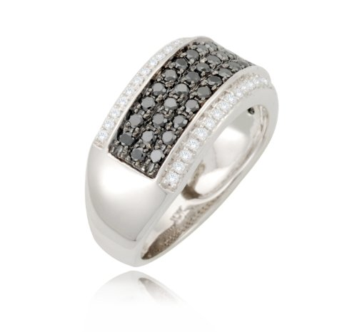 10k White Gold Band Style White and Black Diamond Ring (0.87 cttw, I-J Color, I2-I3 Clarity), Size 6