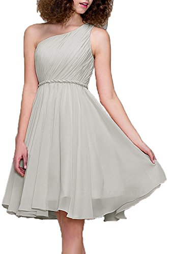 99Gown Prom Dresses Short Cocktail Dress One Shoulder Prom Formal Dresses For Women Bridesmaid, Color Silver,18W