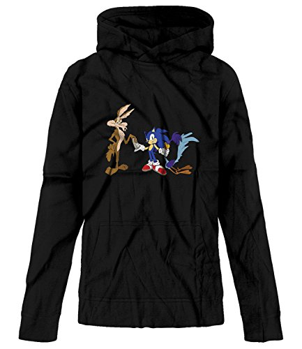 BSW Youth Boys Roadrunner Coyote Pays Sonic Looney Theme Hoodie SM Black -