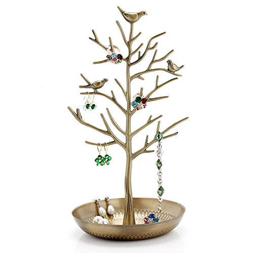 Pasutewel Birds Tree Jewelry Stand Vintage Antique Display Earring Bracelet Necklace Holder Organizer Rack Tower (Jewelry Holder Iron Vintage)