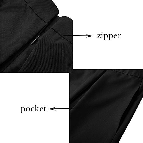 b9fd13bdf Yige Women's High Waisted A line Skirt Skater Pleated Full Midi Skirt Black  US10 by Yige