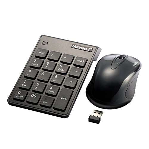 USB Numeric Keypad & Mouse Combo, Sunreed 2.4G Wireless Mini USB Number Pad Keyboard and Mouse for Laptop Desktop Notebook, with Power Switch, Just One USB Port - (Port Notebook Mouse)