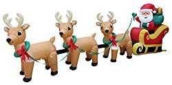 12 Foot Long Lighted Christmas Inflatable Santa Claus on...