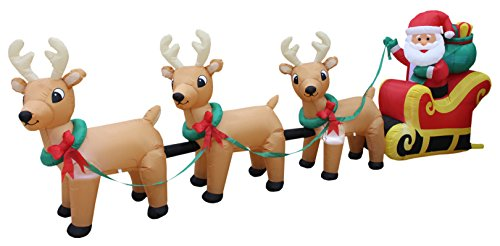 Santa Claus And Reindeer Decoration - 12 Foot Long Lighted Christmas Inflatable Santa Claus on Sleigh with 3 Reindeer and Christmas Tree Yard Decoration