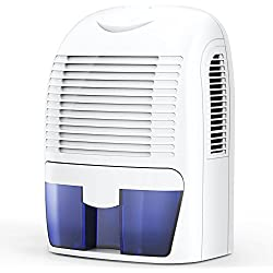 Hysure 1500ml Dehumidifier, 2200 Cubic Feet, Compact and Portable for Damp Air, Mold, Moisture in Home, Kitchen, Bedroom, Basement, Caravan, Office, Garage