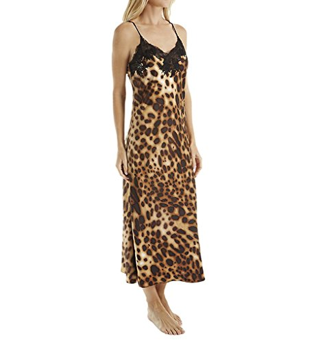 Charmeuse Lace Long Gown - Natori Leopard Printed Silky Charmeuse Long Gown (B73143) S/Natural