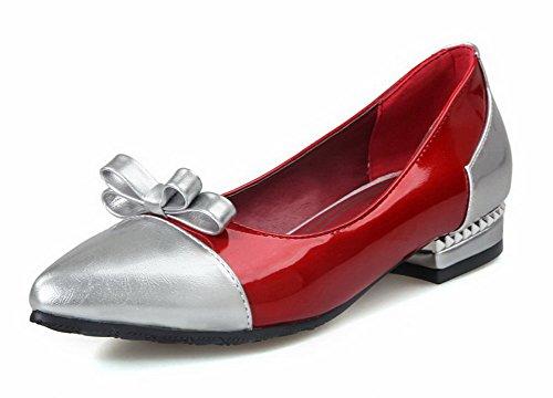 AllhqFashion Mujer Colores Surtidos Material Suave Mini Tacón Sin cordonessa De salón Rojo