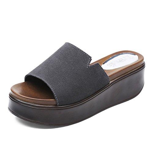 Antideslizante Gris Dama Impermeable Zapatos Verano Fuera Mop Plataforma 36 de de Alto Tacón Moda Desgaste de Cool Zapatillas de 4r47qHTw