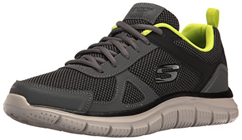 Skechers Sport Men's Track Oxford,Charcoal/Lime,12 M US